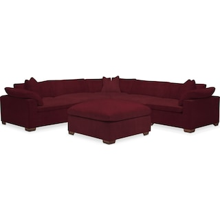 Plush 5-Piece Sectional and Ottoman - Modern Velvet Wine