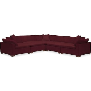Plush 5-Piece Sectional - Modern Velvet Wine