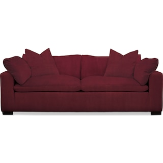 Plush Sofa - Modern Velvet Wine