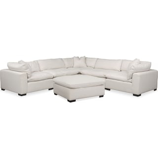 Plush 5-Piece Sectional and Ottoman - Ivory