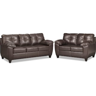 Ricardo Sofa and Loveseat Set - Brown