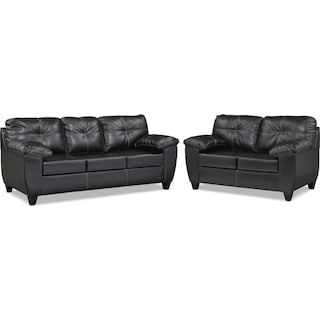 Ricardo Queen Memory Foam Sleeper Sofa and Loveseat Set - Onyx