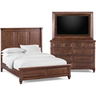 Rosalie 5-Piece Queen Storage Bedroom Set with Dresser and TV Mount - Chestnut