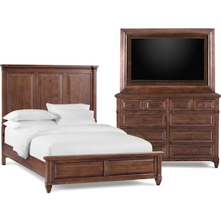 Rosalie 5-Piece Queen Bedroom Set with Dresser and TV Mount - Chestnut