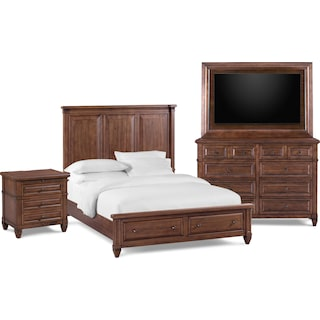 Rosalie 6-Piece King Storage Bedroom Set with Nightstand, Dresser and TV Mount- Chestnut