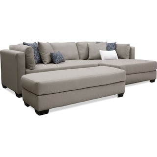 Rosalyn 2-Piece Sectional with Chaise and Ottoman - Gray