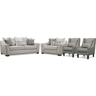 Roxie Sofa, Chair and a Half, and 2 Accent Chairs
