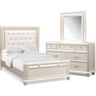 Sabrina 5-Piece Queen Bedroom Set with Dresser and Mirror - Pearl