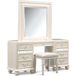 Sabrina Vanity, Mirror and Bench - Pearl