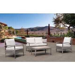 Sand Point Outdoor Loveseat, 2 Chairs and Coffee Table Set