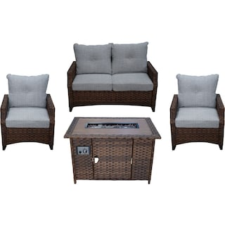 Santa Cruz Outdoor Loveseat, Set of 2 Chairs and Fire Table - Brown