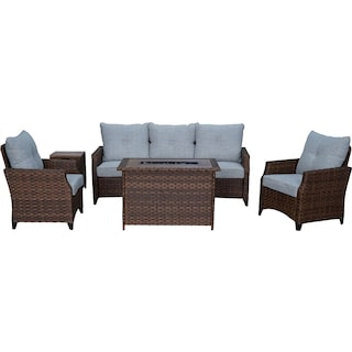 Santa Cruz Outdoor Sofa, Set of 2 Chairs and Fire Table - Brown