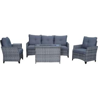 Santa Cruz Outdoor Sofa, Set of 2 Chairs and Fire Table - Gray