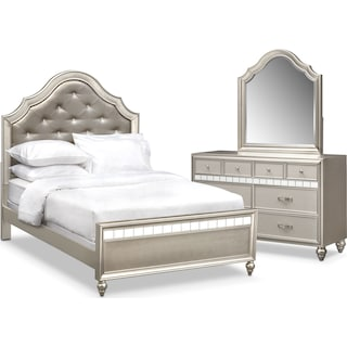 Serena Youth 5-Piece Full Bedroom Set with Dresser and Mirror - Platinum