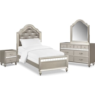 Serena Youth 6-Piece Twin Bedroom Set with Nightstand, Dresser and Mirror - Platinum