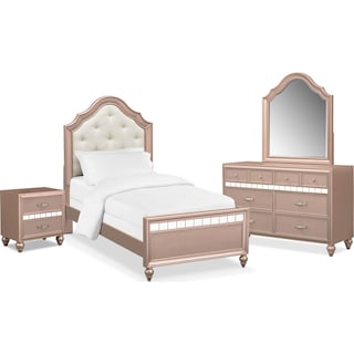 Serena Youth 6-Piece Twin Bedroom Set with Nightstand, Dresser and Mirror - Rose Quartz