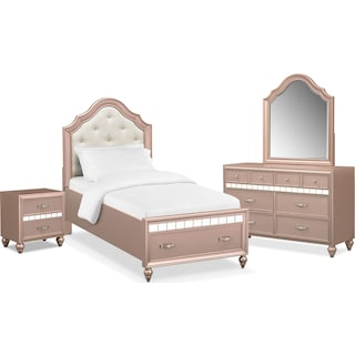 Serena Youth 6-Piece Twin Storage Bedroom Set with Nightstand, Dresser and Mirror - Rose Quartz