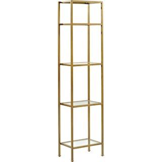 Shea Narrow Bookcase - Gold