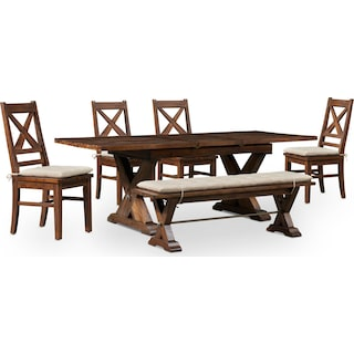 Shiloh Dining Table, Bench and 4 Dining Chairs