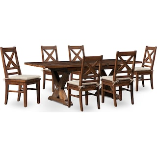Shiloh Dining Table and 6 Dining Chairs