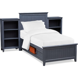 Sidney Twin Storage Bed and 2 Bookcases - Navy
