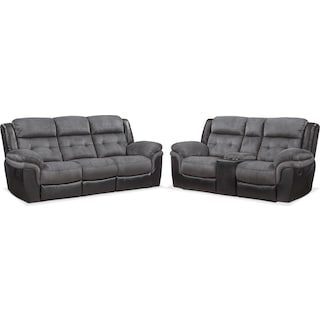 Tacoma Manual Reclining Sofa and Loveseat Set - Black