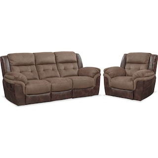 Tacoma Manual Reclining Sofa and Glider Recliner Set - Brown