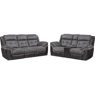 Tacoma Dual-Power Reclining Sofa and Loveseat Set - Black