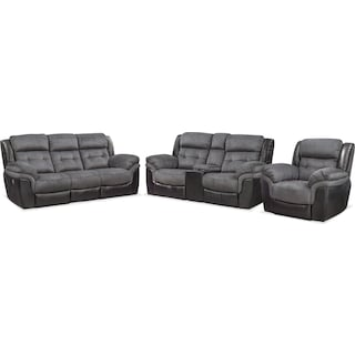 Tacoma Dual-Power Reclining Sofa, Loveseat and Recliner - Black