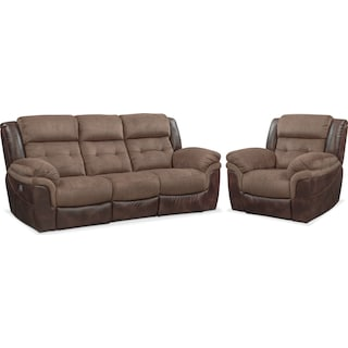 Tacoma Dual-Power Reclining Sofa and Recliner Set - Brown