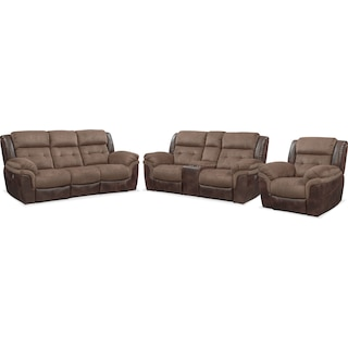 Tacoma Dual-Power Reclining Sofa, Loveseat and Recliner - Brown