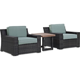 Tethys Set of 2 Outdoor Chairs and End Table Set