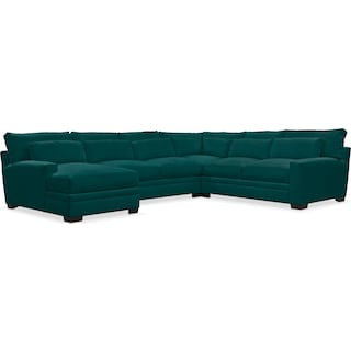 Winston Comfort 4-Piece Sectional with Left-Facing Chaise - Toscana Peacock