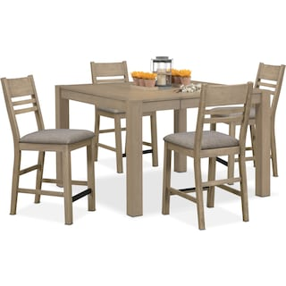 Tribeca Counter-Height Dining Table and 4 Dining Chairs - Gray