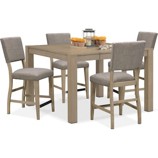 Tribeca Counter-Height Dining Table and 4 Upholstered Dining Chairs - Gray