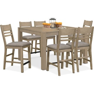 Tribeca Counter-Height Dining Table and 6 Dining Chairs - Gray