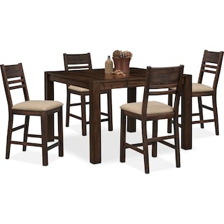 Tribeca Counter-Height Dining Table and 4 Dining Chairs - Tobacco