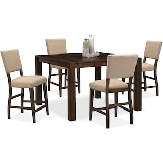 Tribeca Counter-Height Dining Table and 4 Upholstered Dining Chairs - Tobacco