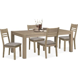 Tribeca Dining Table and 4 Dining Chairs - Gray