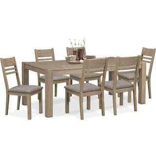 Tribeca Dining Table and 6 Dining Chairs - Gray