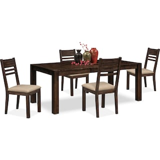 Tribeca Dining Table and 4 Dining Chairs - Tobacco