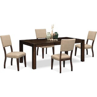 Tribeca Dining Table and 4 Upholstered Dining Chairs - Tobacco