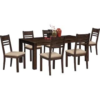 Tribeca Dining Table and 6 Dining Chairs - Tobacco