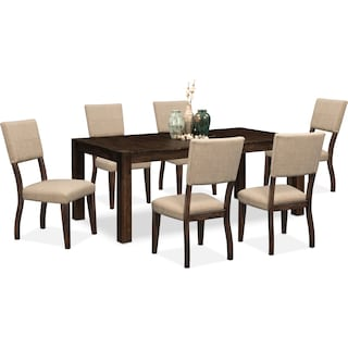 Tribeca Dining Table and 6 Upholstered Dining Chairs - Tobacco