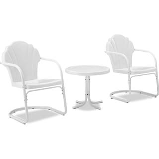 Tulip Set of 2 Outdoor Chairs and Side Table - Alabaster White