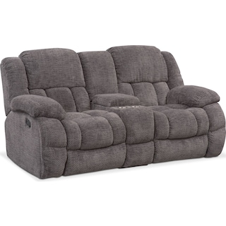 Turbo Manual Reclining Loveseat - Pewter