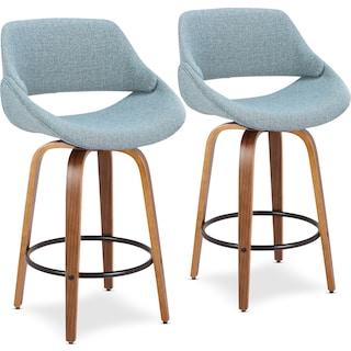 Uma Set of 2 Counter-Height Stools - Blue