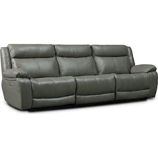 Vince 3-Piece Dual-Power Reclining Sofa - Gray