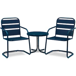 Wallace Set of 2 Outdoor Chairs and Side Table - Navy