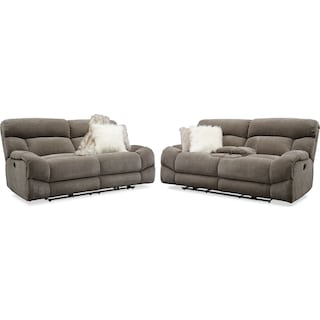 Wave Manual Reclining Sofa and Loveseat Set - Ash